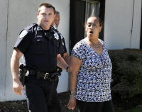 """Angela Richards, 45, was taken into custody around 9:30 a.m. after allegedly attacking her boyfriend with a kitchen knife during an argument, Fairfield police Sgt. Stephen Ruiz said....Richards was taken to NorthBay Medical Center for treatment of a cut she sustained above her eye before being booked into Solano County Jail on suspicion of felony domestic violence and assault with a deadly weapon, Ruiz said."""
