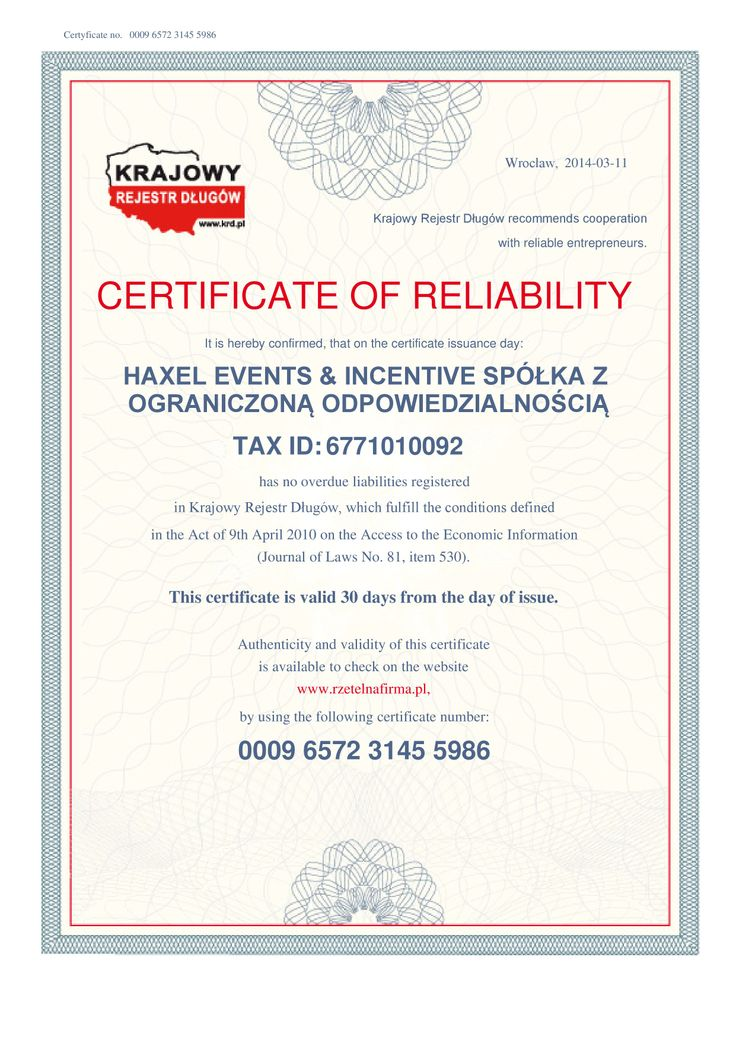 This is our #certificate of #reliability. Haxel Events & Incentive has no overdue liabilities registred #eventprofs