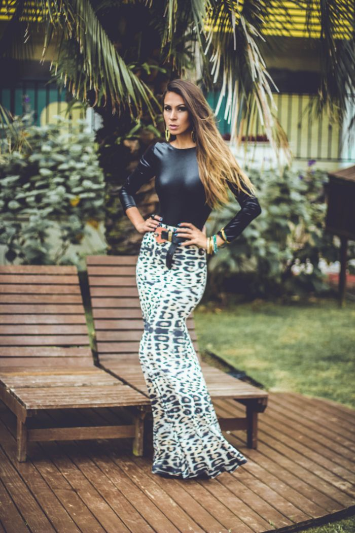 Modelo de saia longa de oncinha / animal print - Blog de Moda e Look do dia Decor e Salto Alto