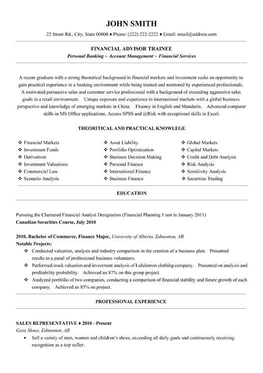 10 best Best Warehouse Resume Templates \ Samples images on - financial sales consultant sample resume