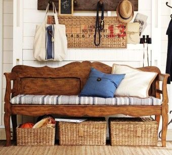 carved wood entryway storage bench with wood calender board - coat rack, church pew, rattan baskets, home decor