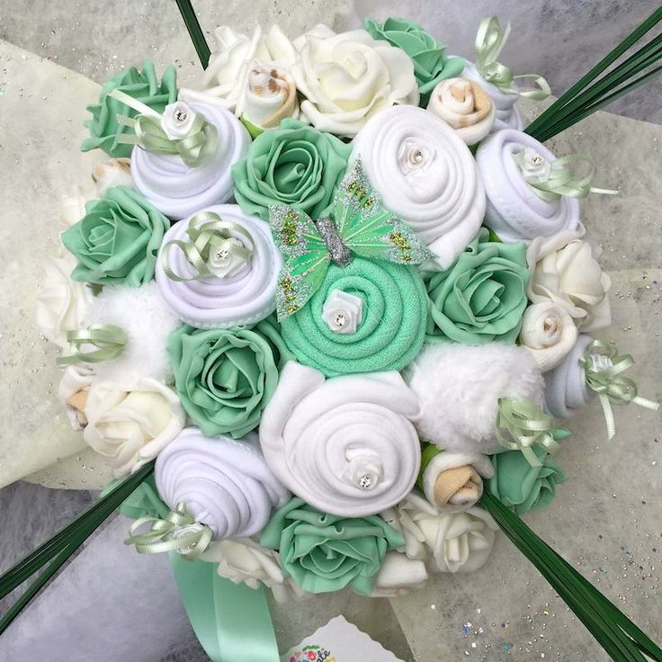 30 best baby clothing flower bouquets images on pinterest floral this is a stunning mint and white baby clothing bouquet the perfect luxury gift for a negle Image collections