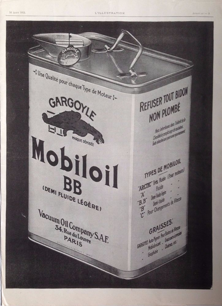 MOBILOIL BB VACUUM AD RETRO GARGOYLE LOGO TIN ART 1910s original vintage advert