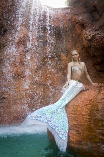 mermaid near waterfall