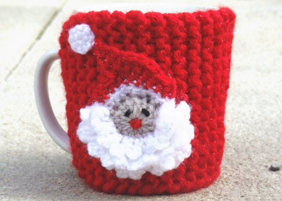 Santa Coffee Cozy Christmas Cup Cosy Mug by TheWoollyKnitter, £8.50