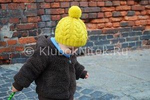 Желтая шапка   Вязание для детей   Вязание спицами и крючком. Схемы вязания.