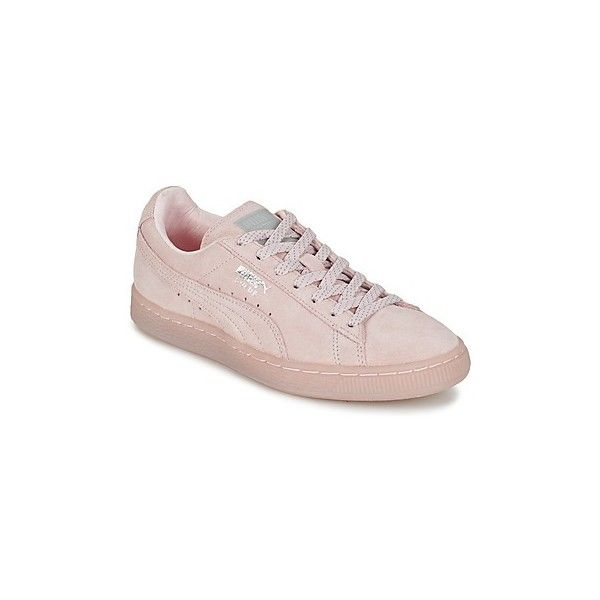 Puma SUEDE CLASSIC MONO REF ICED Shoes (Trainers) ($89) ❤ liked on Polyvore featuring shoes, sneakers, pink, trainers, women, puma footwear, suede shoes, pink shoes, puma trainers and pink sneakers