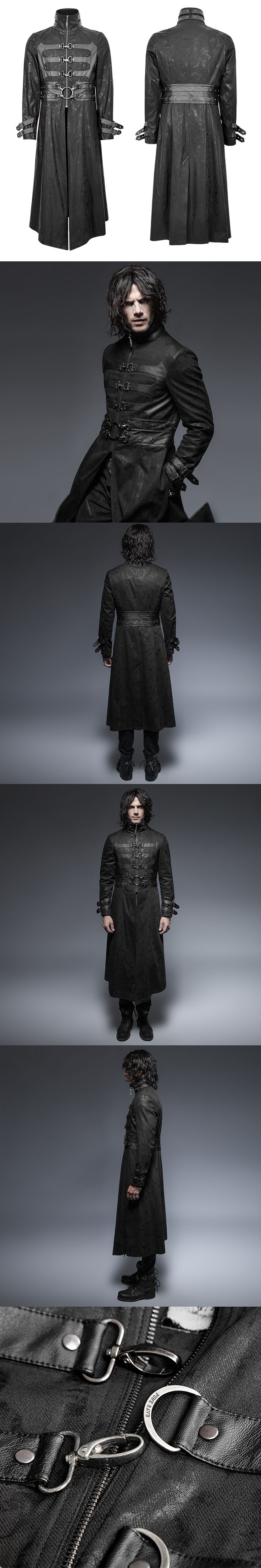 Steampunk Gothic Autumn Winter Stand-Collar Windbreakers Super Handsome Overcoats Punk Killer Buckle Man Outer Long Coats