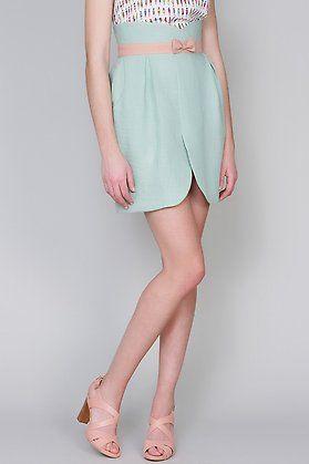 Falda bicolor con lazo by Titis Clothing