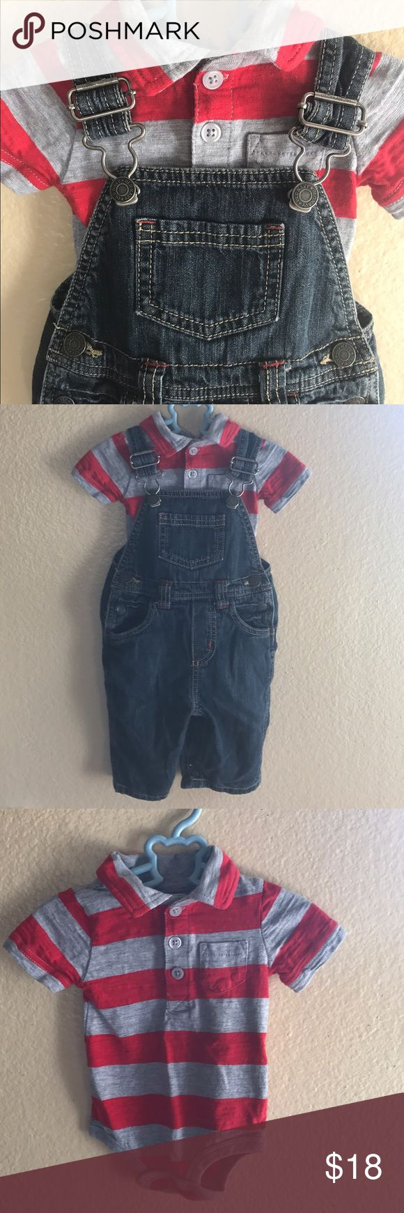 Old Navy overalls bundle. Adorable dark denim overalls with red stitching detail. I paired it with a striped collar onesie. It's so adorable! Both are in excellent used condition. Old Navy Bottoms Overalls