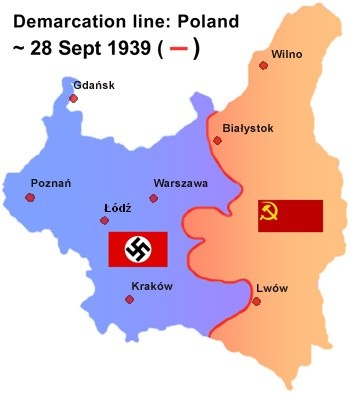 Line of demarcation between German and Soviet military forces after their joint invasion of Poland in September 1939