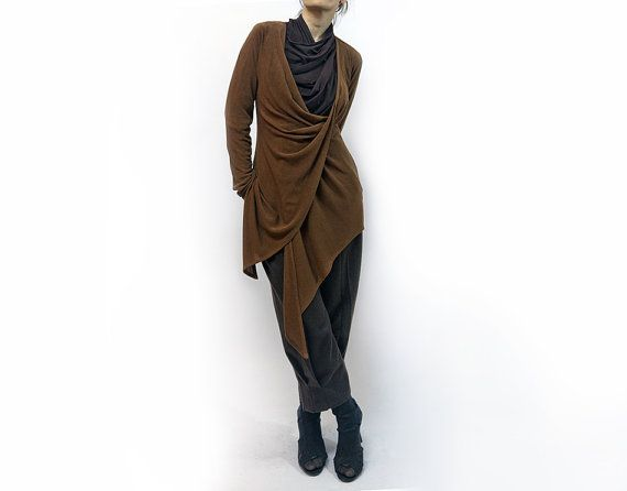 jacket blouse brown jacket brown blouseknitted by AnnaPerena, $85.00
