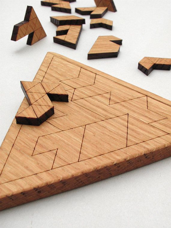Wooden Triangles Geometric Puzzle Red Oak by TimberGreenWoods