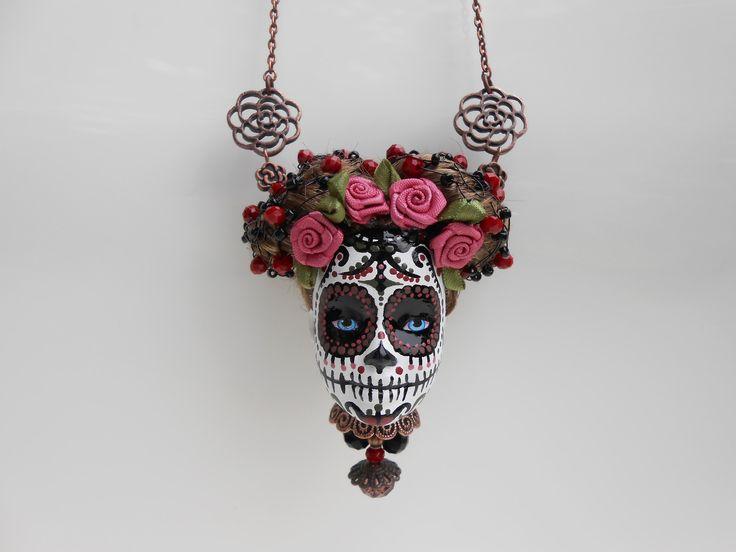 Sautoir tête de Barbie crâne mexicain couleur cuivre : Collier par jennifleur