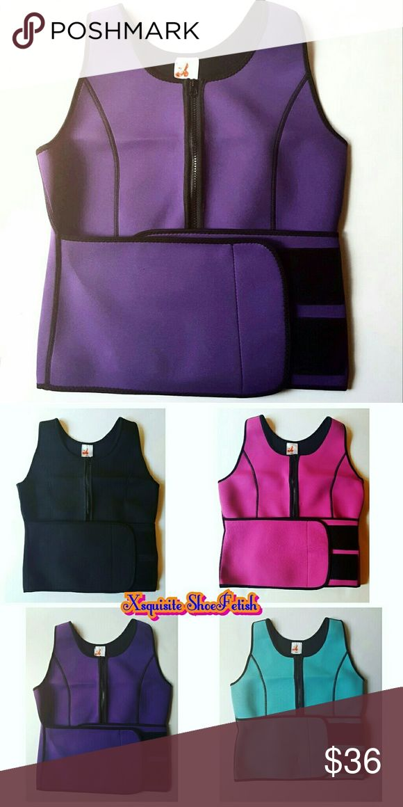 PURPLE Sauna Vest The Neoprene Sauna Sweat Vest is the perfect workout accessory that helps to burn fat and calories. The Sauna Sweat Vest is latex free and is made of high quality neoprene and polyester fabric. This Neoprene Sauna Sweat Vest helps your body generate 3X more sweat so you can amp up your workout and burn calories faster. This garment elevates your body temperature to promote fat burning and rid the body of excess water through sweating. Xsquisite ShoeFetish Other