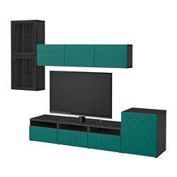BESTÅ combinazione TV/ante a vetro, marrone-nero Hallstavik, verde acqua vetro trasparente Larghezza: 300 cm Profondità minima: 20 cm Profondità massima: 40 cm