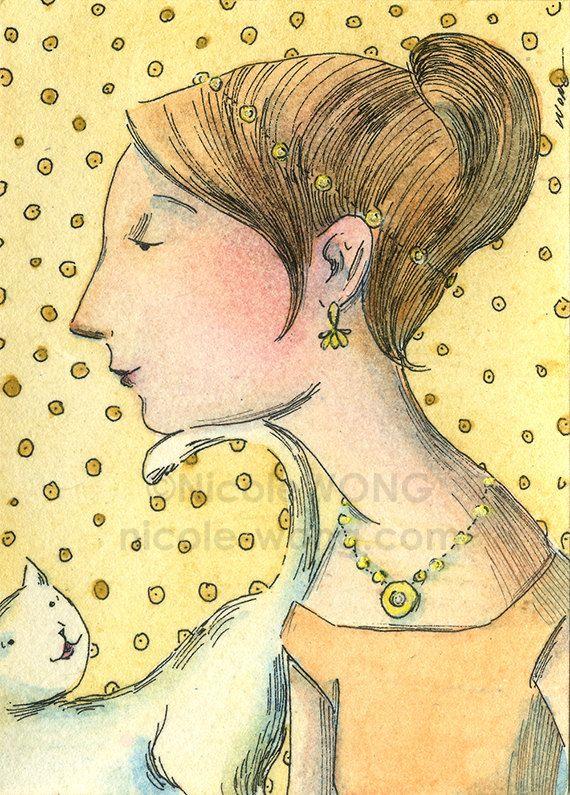 Originele ACEO aquarel schilderij en inkt tekenen Artwork--Fancy kat kont