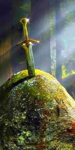 "The Name ""Excalibur"" was first used for King Arthur's sword by the French Romancers. It was not the famous ""Sword in the Stone"" (which broke in battle), but a second sword acquired by the King through the intercession of his druidic advisor, Merddyn (Merlin)."