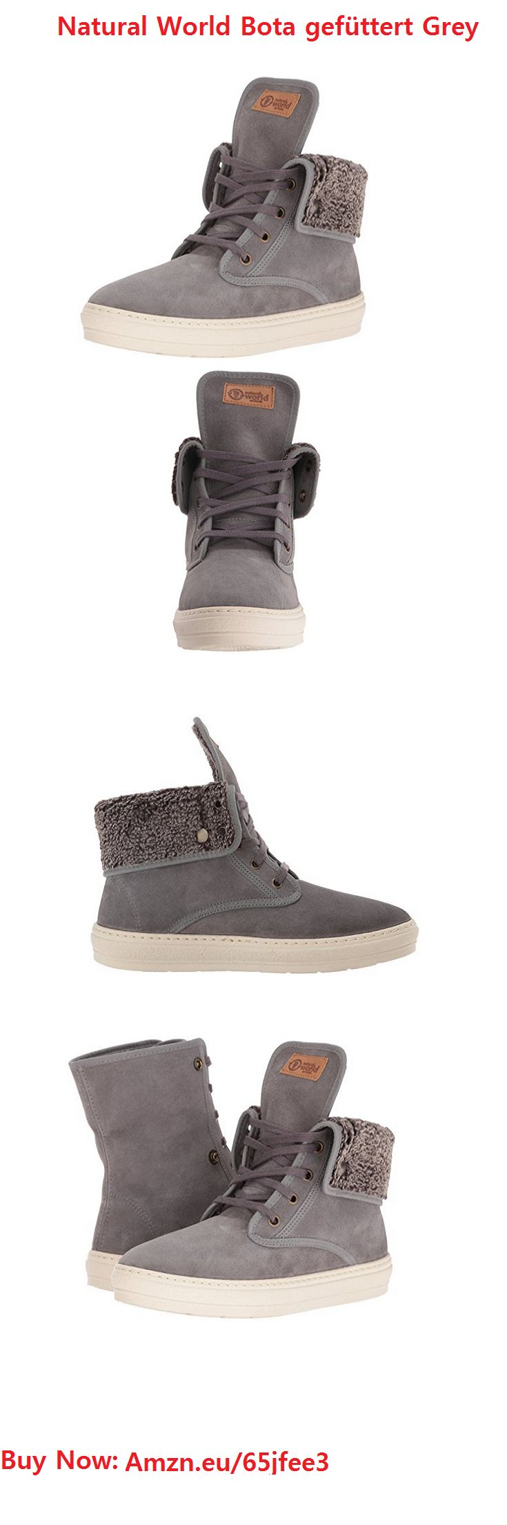 """Natural World Bota gefüttert Grey. NATURAL WORLD BOTA LINED [GREY]This is a lined version of the Bota from Natural World. The main objective of the Spanish brand is respect for the environment. The Bota has a soft faux fur lining to keep your feet warm on cold days. The collar has two snap fasteners and can be turned down. Sole and upper are sewn together for additional durability. leather upper lining 100% polyester synthetic sole faux fur lining collar can be turned down """"made in Green""""…"""