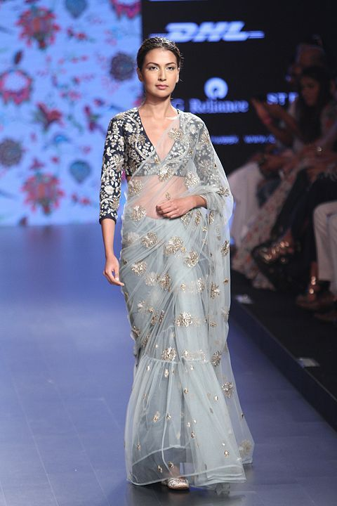 How Stunning Does This Light Blue Net Saree Look With A