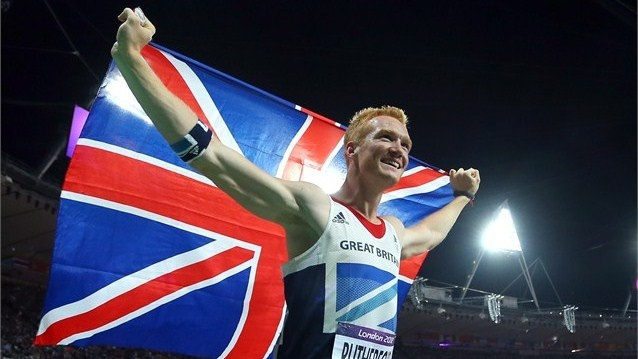 Greg Rutherford of Great Britain celebrates winning gold in the men's Long Jump Final. #Olympics Olympics