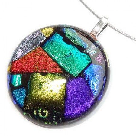 Exclusieve grote ronde glashanger met diverse kleuren glas.