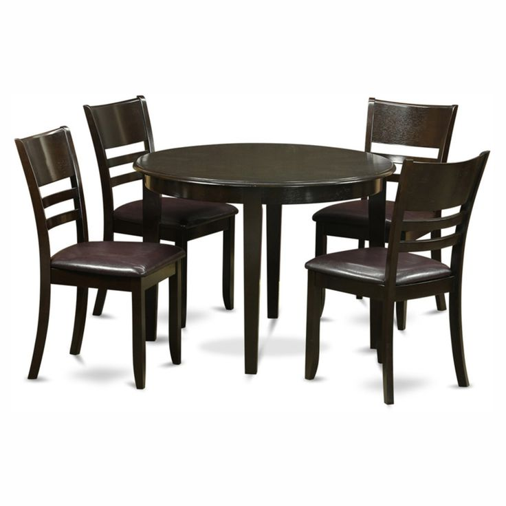 East West Furniture Boston 5 Piece Round Dining Table Set with Fields Faux Leather Seat Chairs - BOLY5-CAP-LC