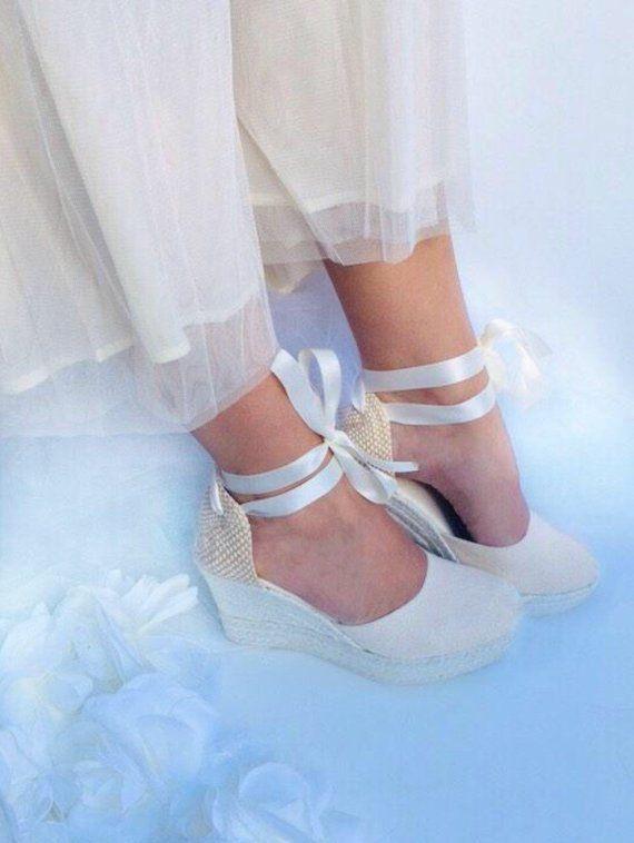 62b54e6add710 ASHLEY Ivory Wedge Lace Up Espadrilles Boho style #platforms #heels ...