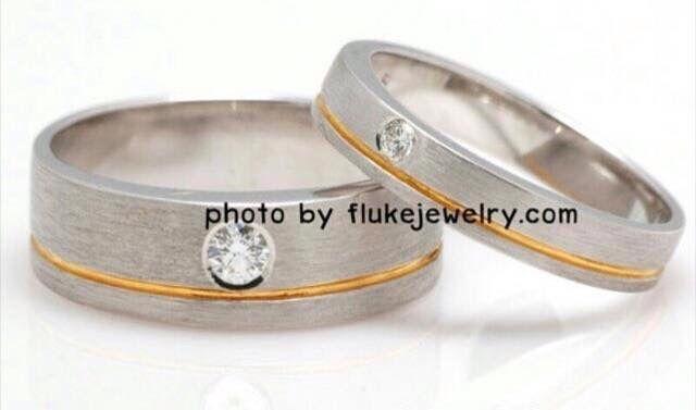 2tone Diamond Couple ring