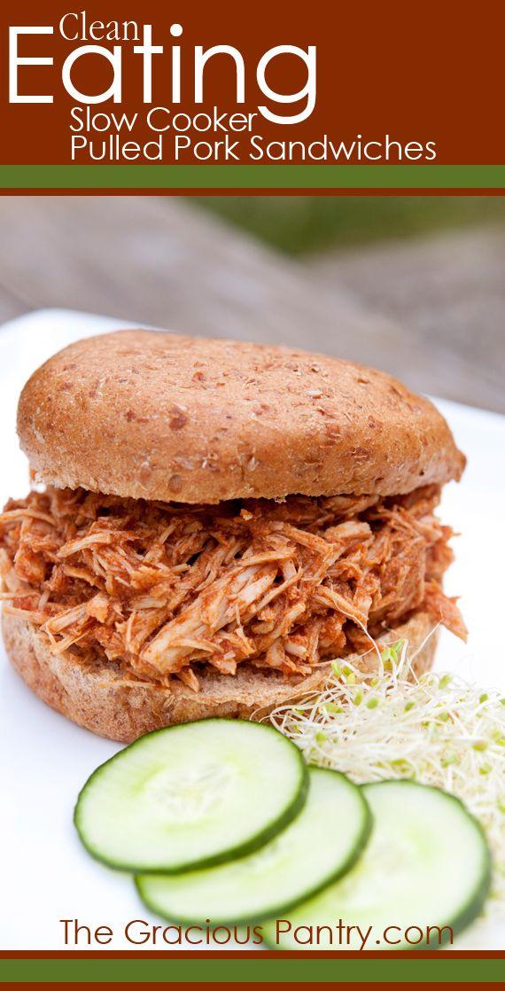 Clean Eating Slow Cooker Pulled Pork Sandwiches.  #cleaneating #cleaneatingrecipes #eatclean #noaddedsugar #noaddedsugarrecipes