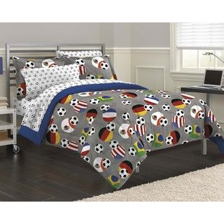 @Overstock - Soccer Fever 7-piece Bed in a Bag with Sheet Set - The Soccer Fever 7-piece bedding set features multicolored balls on a solid grey background and  reverses to a nautical blue. This machine washable set is available in twin, full and queen dimensions.   http://www.overstock.com/Bedding-Bath/Soccer-Fever-7-piece-Bed-in-a-Bag-with-Sheet-Set/8950151/product.html?CID=214117 CAD              77.72