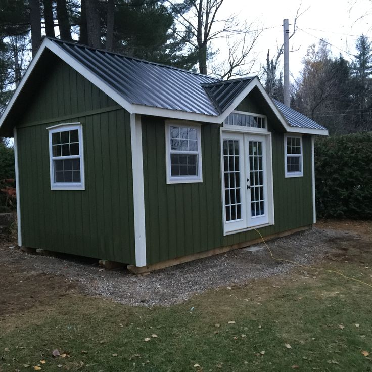 """This is West Quebec Shed Company """"Muskoka"""" model. It is a 12x24 small cottage made with L.P. Smartside, custom thermo windows and doors."""