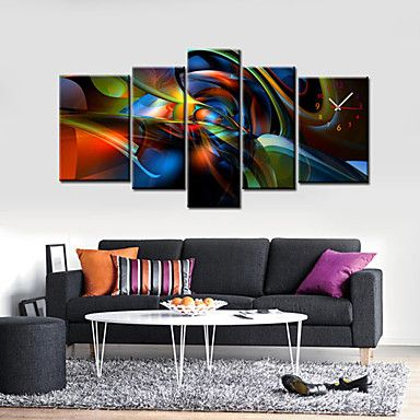 Modern Abstract Wall Clock in Canvas 5pcs – USD $ 109.99