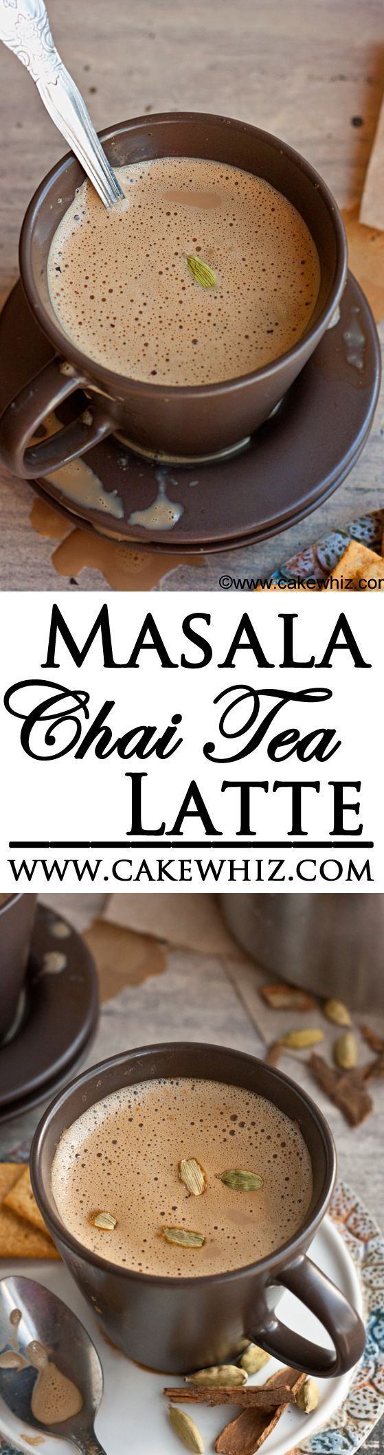 """Learn to make authentic MASALA CHAI TEA LATTE at home. It's rich, flavorful and has the perfect balance of spices.From cakewhiz.com"""