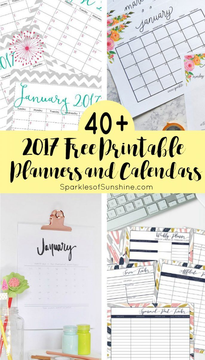 Want to organize your life for FREE? Check out this collection of over 40 awesome free printable 2017 calendars and planners.