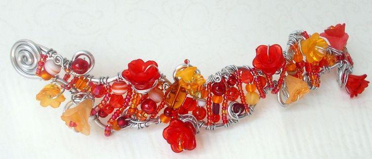Orange Rot Silber Blütenmeer Blumen/Meerjungfrau Fee Elfenprinzessin  34 gr.