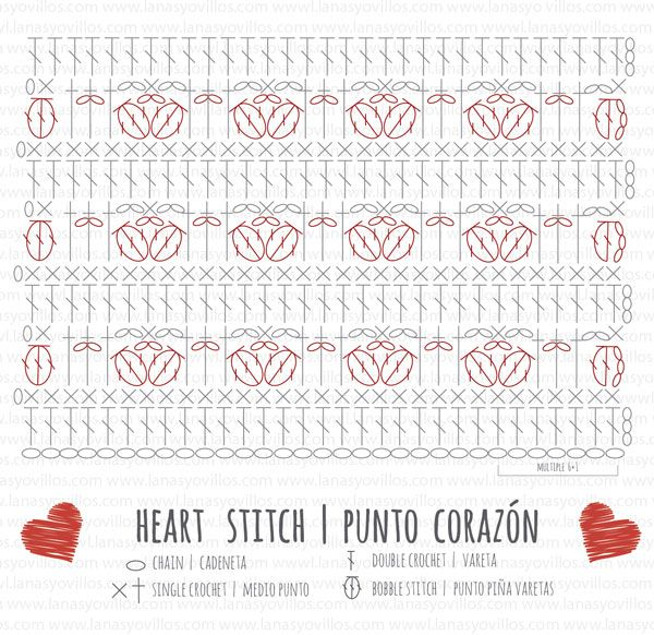 crochet heart stitch free pattern chart | Patrones de ganchillo ...