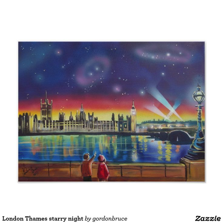 London Thames starry night Poster