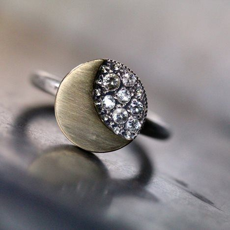 Moon and Stars Engagement Ring Gold Silver Sapphire