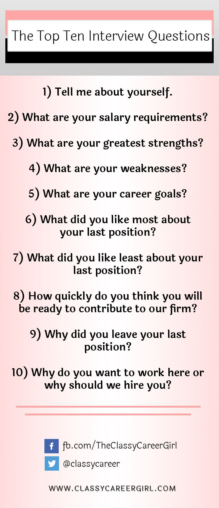we have worked with recruiters and hiring managers to come up with the top ten interview questions that you'll want to have ready to go. http://www.classycareergirl.com/2013/04/how-to-answer-the-top-ten-interview-questions-video/