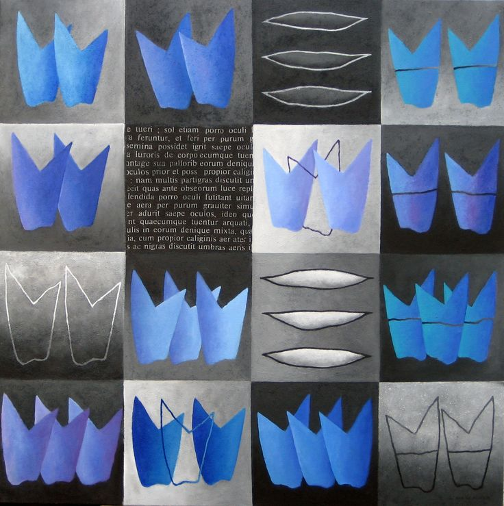 Flowering in blue and grey - acryl on canvas - 90x90 - Marike Meurs