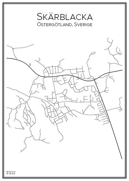 Skärblacka. Norrköpings kommun. Östergötlands län. Sverige. Map. City print. Print. Affisch. Tavla. Tryck. Stadskarta.
