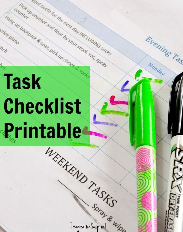 Daily task checklist for kids. printable, downloadable .docx