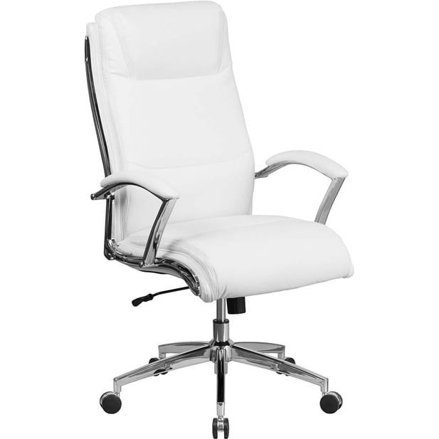 Offex High Back Designer White Leather Executive Swivel Office Chair with Padded Arms and Chrome (Grey) Base