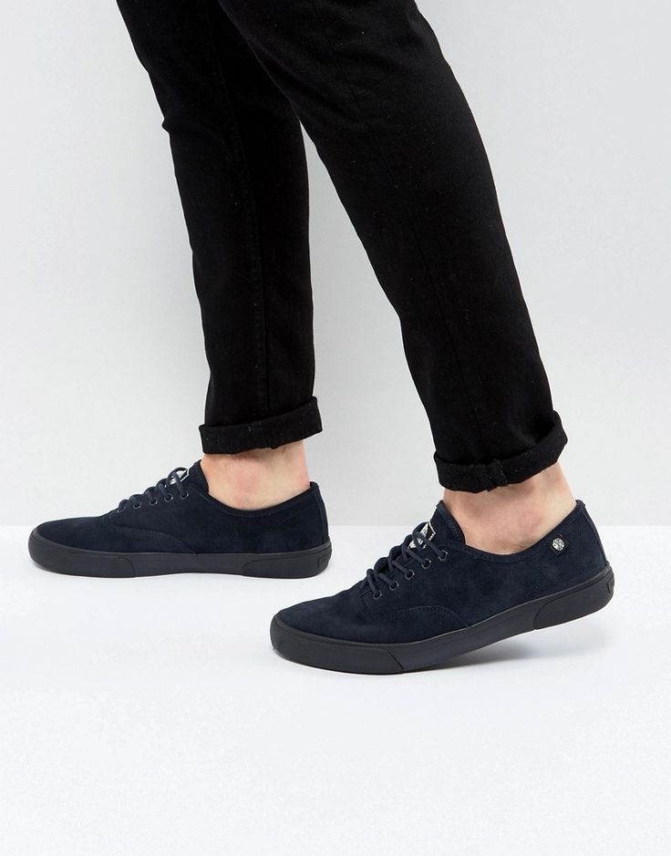 Pretty Green Suede Archer Sneakers in Navy - Navy