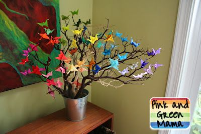 Pink and Green Mama: Origami Paper Crane Wish Tree