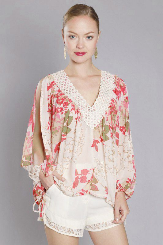 {Flutter Chiffon Tunic} Emma Stine - laser cut lace detail at neck is so pretty