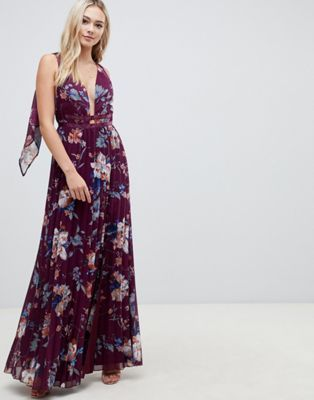 b5c00ea1e02 ASOS DESIGN pleated maxi with tape detail in winter floral print ...