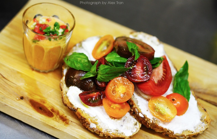 Special ~ heirloom tomatoes and   Holy Goat fromage frais on grainy toast with a shot of gazpacho