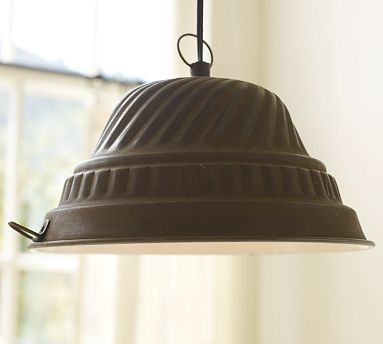 cake pan/gelatin mold light pendant -- possible diy -- this one's from pottery barn (not sold anymore though)